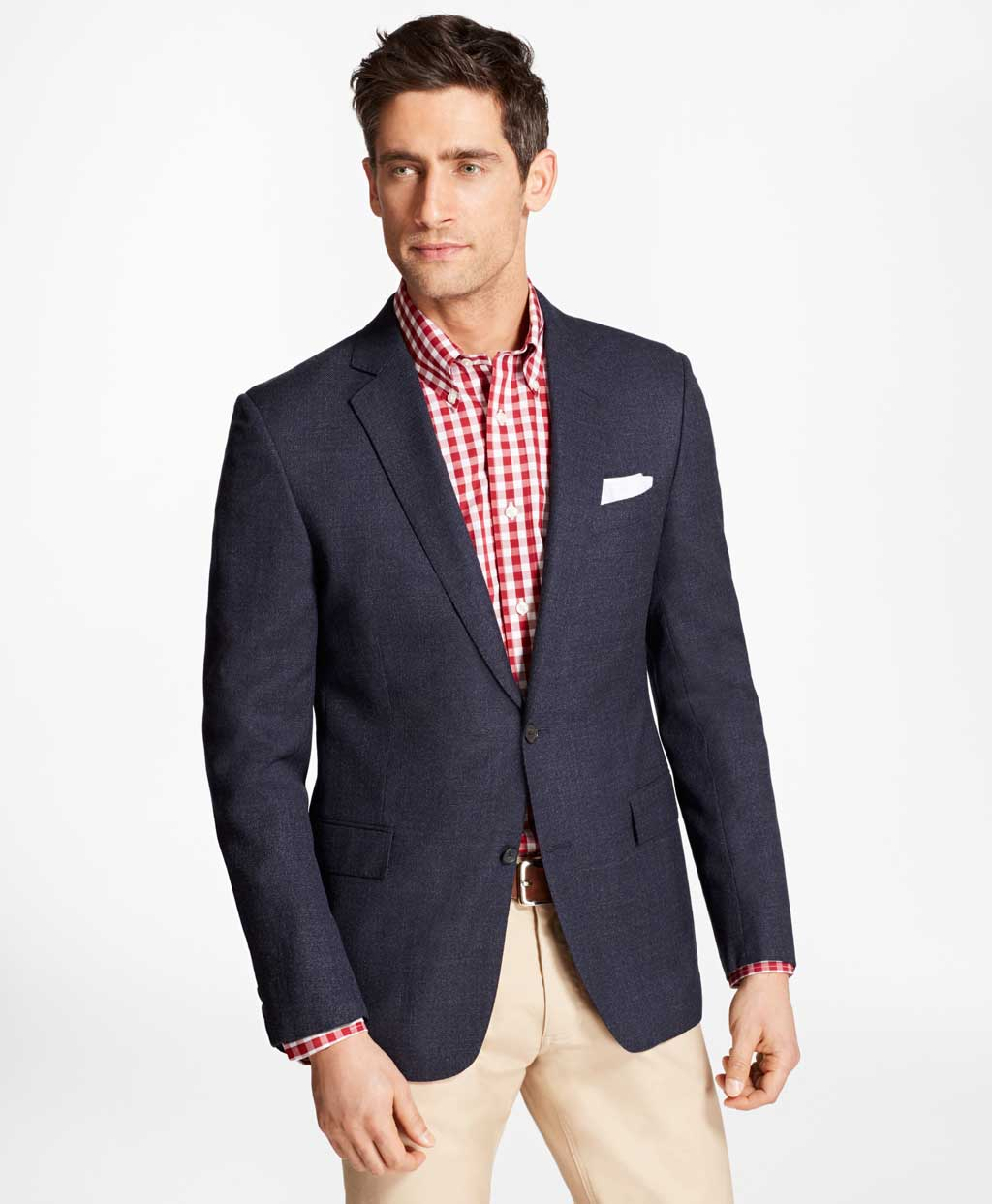 b6c0b0e2d6a Three different outfit inspiration options using a navy blue Brooks  Brothers hopsack sport coat blazer…